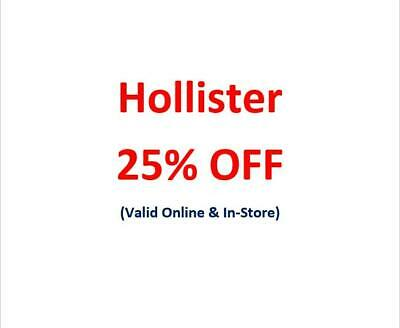 ➜SENT NOW! Holliser HCO 25% Discount Promo Code SALES & CLEARANCE