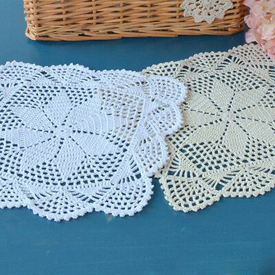 Crochet Floral Doilies Placemat Square Cotton Lace Doily Mat Table Cover 30cm