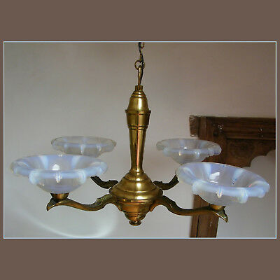 Antique 1930 French Art Deco Opalescent Glass Shades Ceiling Light Chandelier