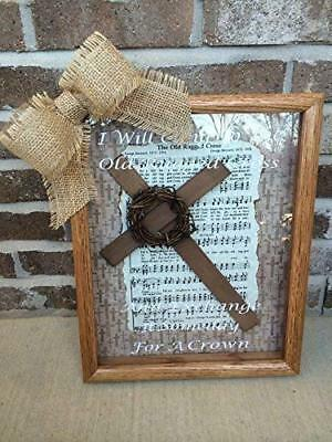 Old Rugged Cross | Religious | Wooden | Oak Shadow Box | Gift