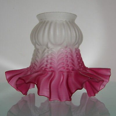 Antique Victorian Ruffled Frosted Satin & Cranberry Glass Lamp Light Shade # 3