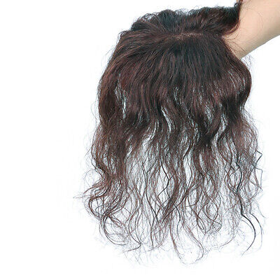 Real Human Hair Curly Wavy Hairpiece Toupee System Hair Topper Wig for Women