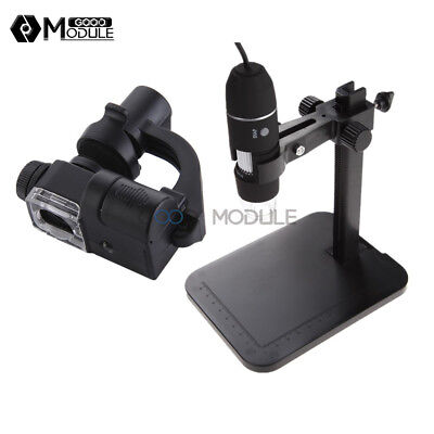 USB 1000X Digital Microscope 2MP 8 LED Endoscope 90X Magnifier Camera+Lift Stand