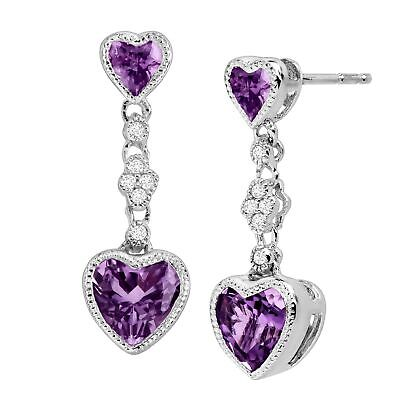 Natural Amethyst Double Heart Earrings w Created White Sapphires Sterling Silver