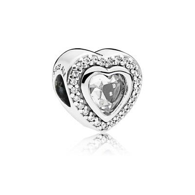 Authentic Pandora Silver Sparkling Love Charm Bead 797608CZ