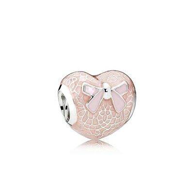 Authentic Pandora Silver Pink Bow and Lace Heart Enamel Bead 792044ENMX