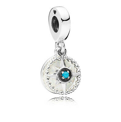 Authentic Pandora Silver Compass Rose Dangle Charm Bead 797196EN23