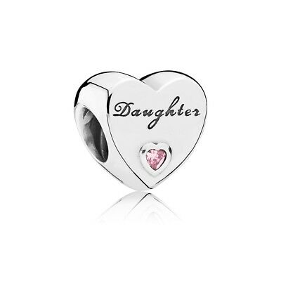 Authentic Pandora Sterling Silver Daughter's Love Pink CZ Charm Bead 791726PCZ