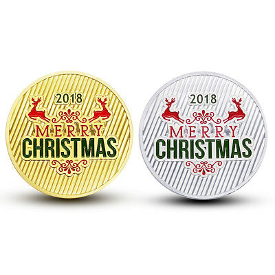 2pcs Merry Christmas Commemorative Coin Santa Claus Deer New Year Souvenir Craft