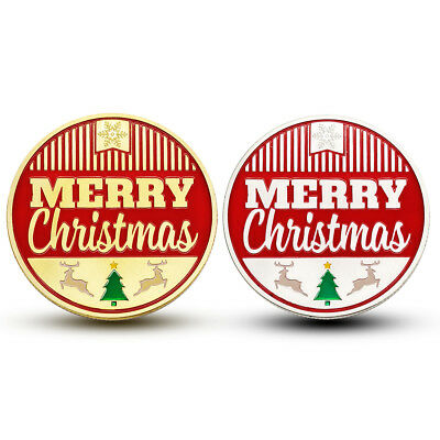 2x Christmas Commemorative Coin SantaClaus Happy New Year Medal Collection +Case