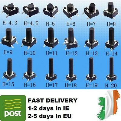2-20pcs 6x6x5-13mm SPST Small Mini Micro Switch Momentary Tactile Push Button