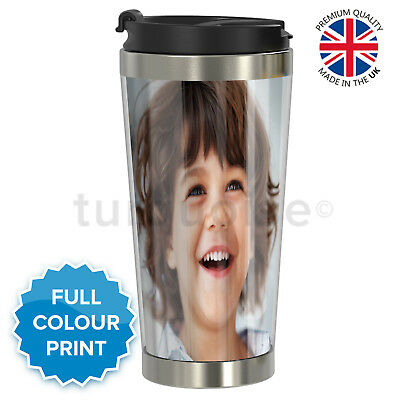 Personalised Custom Photo Gift Thermal Mugs Coffee Tea Travel Flask Cup Steel
