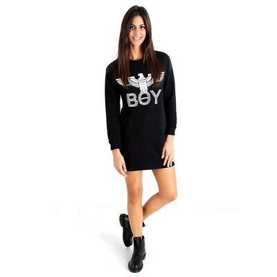 b3c61ac55d2f Boy London Miniabito Abito Donna Vestito Felpa Maxipull Logo Moda Dress  Bld1698