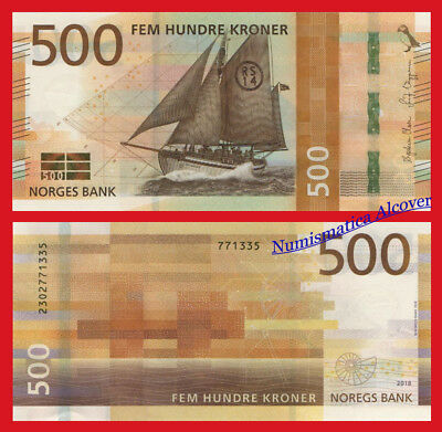 NORUEGA NORWAY 500 Kroner coronas 2018 SHIP NEW DESIGN Pick NEW  SC / UNC