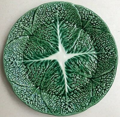"Vintage Majolica Green Cabbage Leaf 10 3/4"" Dinner Plates Beautiful"
