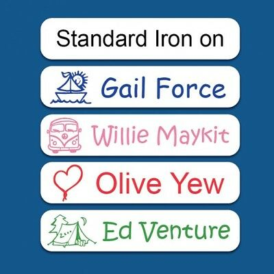 50 Personalised Printed Iron On Name Labels ideal for School Uniform 5 COLORS