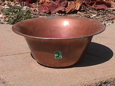 Vintage LARGE Solid COPPER Old Patina PLANTER Plant Liner POT (2) *5 Pictures*