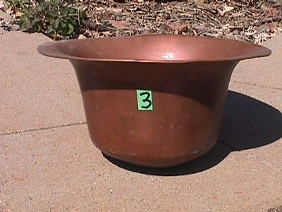 Vintage LARGE Solid COPPER Old Patina PLANTER Plant Liner POT (3) *5 Pictures*