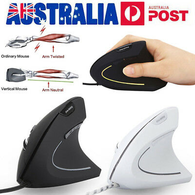 USB Wired Vertical Ergonomic Mouse 7 Button 3200DPI Gaming Mice for Laptop PC AU