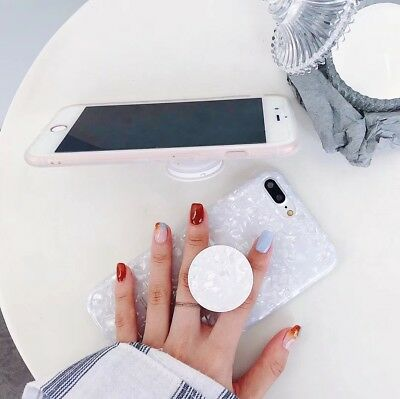 For iPhone X 8 6 6s 7 Plus Case Marble Shockproof Silicone With Pop Stand Cover