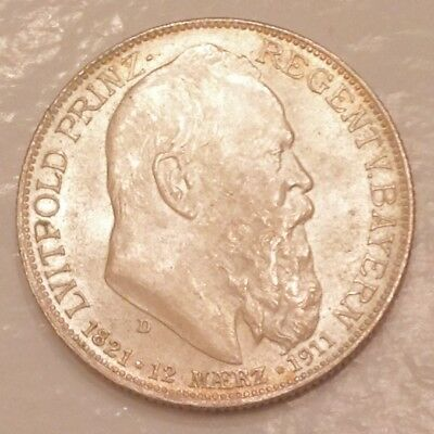 - Germany 1911 Bavaria Two 2 marks 90th Birthday Prince Regent  Uncirculated UNC