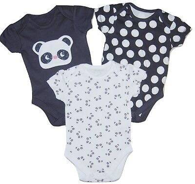 Baby Vests Panda Short Sleeved 3 PACK