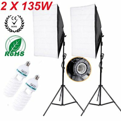 Photography Softbox Studio Continuous Lighting Kit with 2x135W 5500K Bulbs