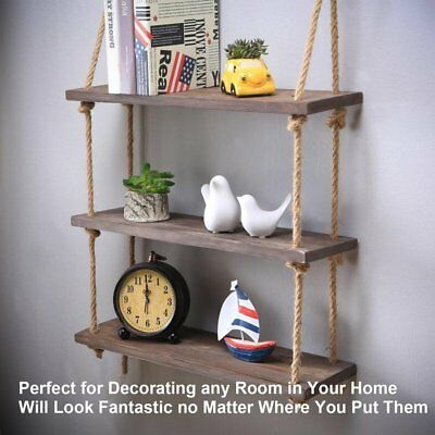 3 Layers Rustic Solid Wood Rope Hanging Wall Shelf Vintage Storage Floating