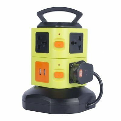 8 Way Tower Mains Power Extension Socket 4 USB Port Adapter Lead Cable Plug