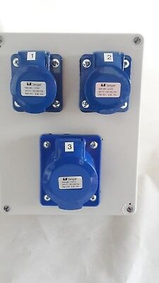 2,3,4 gang industrial CEE socket, 16A, 32A, Generator, garage distribution board