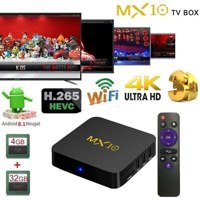 MX10 Android 7.1 HD 4KSmart TV BOX RK3328 Quad Core 4G+64G WiFi Media EG