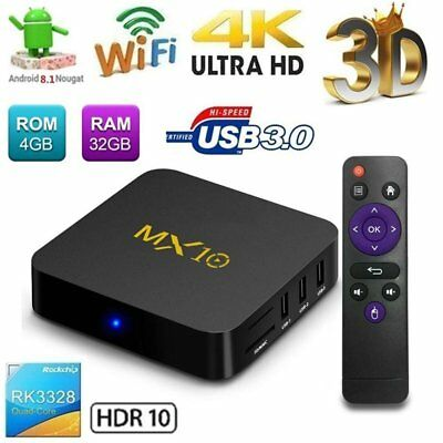 MX10 RK3328 4K HDR Smart TV BOX Android 8.1 4G+32GB USB 2.4G WiFi UHD Media EG