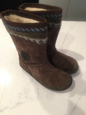 Clarks Girls Suede Boots Brown Size US 12.5