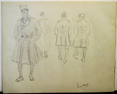 MILITARY MEN ca 1916 Page from the album of unknown Russian artist