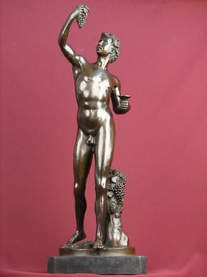 Signed Bronze Sculpture Nude Male Mythology  Handcrafted Statue On Marble Base