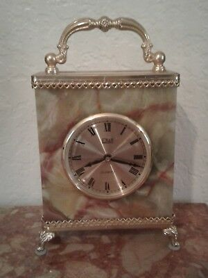 Vintage Onyx Marble And Brass Clock