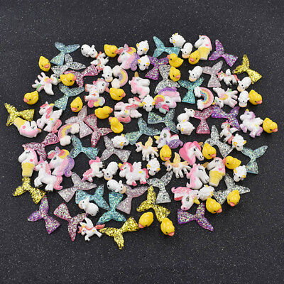 105pcs Exquisite Slime Charms Mermaid Tail Unicorn Resin DIY Craft Accessories
