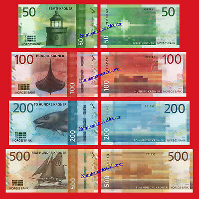 NORUEGA NORWAY SET 50 100 200 & 500 Kroner 2016-2018 Pick NEW  SC / UNC
