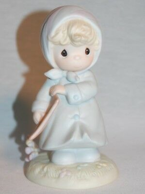1987 Precious Moments March Kite Calendar Girl Blue Pink Figurine 5