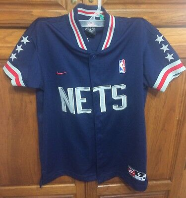 NIKE REWIND 1980 NEW JERSEY NETS RETRO YOUTH TEAM BUTTON WARM UP JACKET  Small 14667fec2