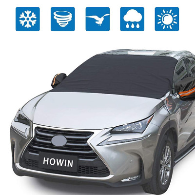 HOWIN Windshield Cover Car for Snow with Mirror Covers + 4 Magnetic Edges + Elas