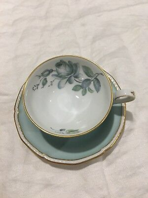 royal tettau germany us zone cup saucer blue rose 5 25