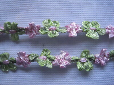 ANTIQUE FRENCH SILK TINY DOLL SIZE PINK AND GREEN FLOWER RIBBON WORK 1 Yd.