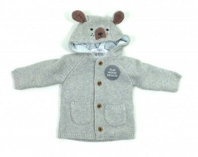 Ex M&S Baby Boys Grey Lined Dog Hooded Cardigan Jacket Knitwear 0 3 6 9 12 18