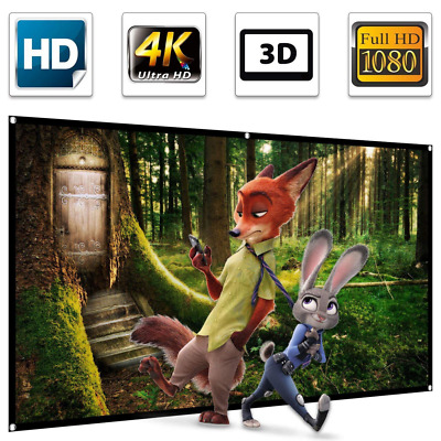 """100"""" Projector Screen,100 inch Projection 16:9 HD 4K Ultra HDR 3D Ready 1.3 Gain"""
