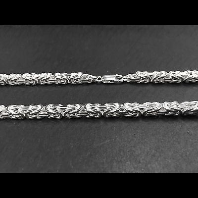 ITALY 925 Sterling Silver HAMMERED WIRE BYZANTINE Chain Necklace/Bracelet-5 mm