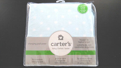 Carters  Baby Changing Pad Cover Cozy Soft Blue - White Stars Standard New