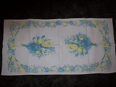 Vintage Table Runner/Tea Towel Yellow and Blue Bunches of Tulips