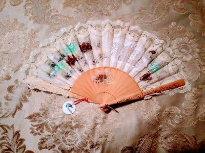Spanish Hand Painted Victorian Wooden Fabric Vintage Fan with Original Box Spain