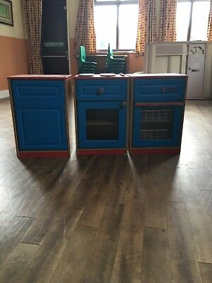 Childrens Wooden Kitchen Units, Dishwasher, Cooker And Cupboard